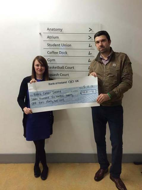 Rik Bell Digital Marketing Executive at Its4women.ie presenting a cheque for €7671.92 to Samantha McGregor, Breast Cancer Ireland
